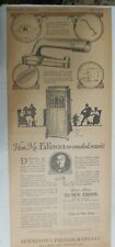 "Edison Phonograh Ad: ""How Edison Recreated Music"" from 1917 Size: 10 x 22 inches"