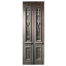 Salvaged Pair of 34� Antique Figural Doors with Iron Inserts, Ned1107