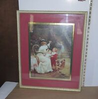 """Framed Print/Victorian Woman w/Children & Dog Holding Bubble Pipe 19.5"""" x 22.5"""""""