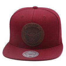 Mitchell & Ness Chicago Bulls Snapback Hat Cap Maroon/Circle Leather