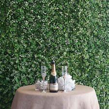 4 Panels - White/Green Artificial Boxwood Hedge Faux Fox Fern & Flower Wall Mat