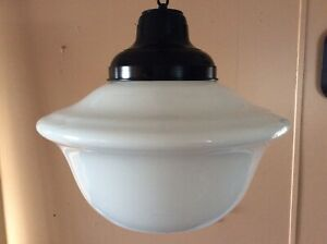 Vintage School House Hanging Light Milk Glass Industrial Church Light 1920s