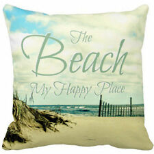 The Beach is my Happy Place Linen Square Pillow Cushion Cover.