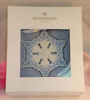 New Wedgwood White and Blue Jasperware Pierced Snowflake Ornament