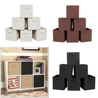 6X Collapsible Foldable Non-woven Cubby Cube Storage Bins Baskets For Shelves