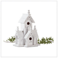 Victorian Distressed White Finished Wooden Birdhouse Wood and triangle