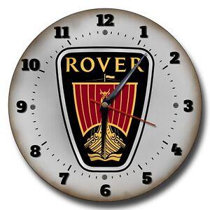 "ROVER 250MM CLOCK/10""DIAMETER METAL WALL CLOCK.CLASSIC CARS,GARAGE CLOCK"