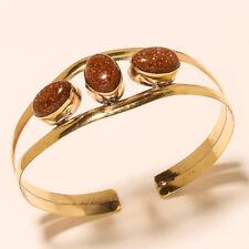 0Tibetan Silver Brass Cuff Bracelet Bangel Sunstone Gemstone Jewelry
