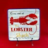 """Certified International by Tracy Flickinger 9"""" Square Lobster Shack Plate"""