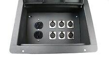 Elite Core Pocket Recessed Floor Box w/6 XLR Mic Female Connectors + AC Outlet