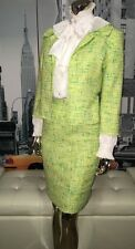 DAVID MEISTER LIME TWEED 2pc Audrey Hepburn Pencil Skirt Suit 4/6