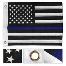 "12x18 Embroidered Sewn USA Police Thin Blue Line Memorial Nylon Flag 12""x18"""