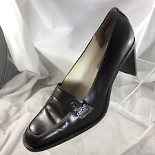 CIRCA JOAN AND DAVID Brown Leather 8M Classic Pumps Slip On Heels Buckle Accent