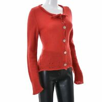 Odd Molly Womens Knitted Cardigan Size 3 Red Mohair Long Sleeves Sweater Genuine
