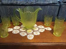 Vaseline Glass Shell Pattern Water Pitcher with 6 Glasses Mosser