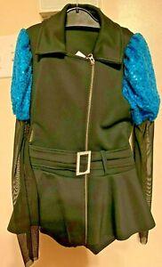 LkNew WEISSMAN 3pc Tap Jazz Dance Black Aqua Sequin Costume Outfit LC LARGE 14