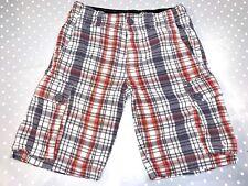 """PRIMARK Mens Summer Cargo Shorts Size 28"""" Waist grey white orange check pattern"""