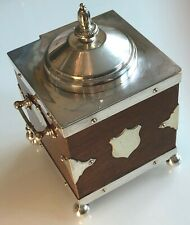 Antique Circa.1881 Rare Silver Plated & Oak Biscuit Box or Ice Bucket By B&O'N