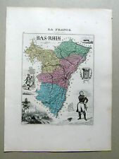 BAS-RHIN carte géographique Vuillemin Atlas Migeon STRASBOURG BARR BISCHWILLER