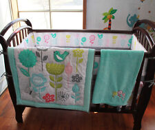 New 8 Piece Baby Bedding Set Flowers Birds Nursery Quilt Bumper Sheet Crib Skirt