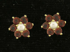 E058- Genuine 9ct Yellow Gold Natural Garnet & Pearl Blossom Daisy Stud Earrings