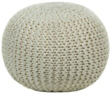 Chandra Textured Contemporary Wool Pouf Ottoman Footstool Set of 2 - Ivory
