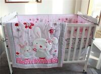 4pcs Baby Girl Bedding Set Rabbits Crib Nursery Quilt Bumper Sheet Crib Skirt
