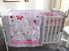 4pcs Baby Girl Bedding Set Rabbits Crib Nursery Quilt Bumper Sheet Crib Skirt A+