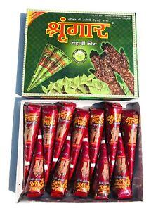 12 x Fresh Shringar Kajal Cones Dark Brown Henna Mehndi Kaveri 100%Natural Henna