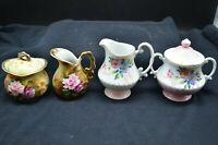 2 Pair of Vtg Bone China Sugar&Creamers-?Lefton E1346 Pink Roses&Pink/White Smal