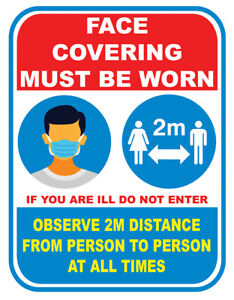 Sign Sticker Vinyl Face Mask Covering Notice Advice 2m Social Distance Rule