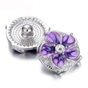 5PCS Plum Blossom Chunk Charm Snap Button Fit 18mm Drill Snap Jewelry 35