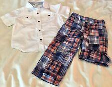 Janie & Jack Boys Size 3 Button Down Shirt & Blue Plaid Convertible Adj Pants