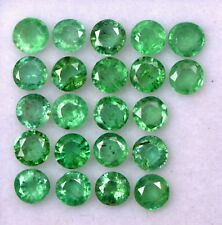 2.37 Cts Natural Emerald Round Cut 3 mm Lot 22 Pcs Lustrous Green Loose Gemstone