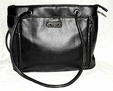 Rosetti Black Pebbled Faux Leather Shoulder Bag & Front Organizer with Zip Sides