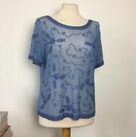 Vintage Baby Blue Pastel Floral Appliqued Pattern Sheer Top Size Medium 10 12