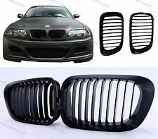 Matte Black Kidney Front Grilles Grill For BMW E46 2DR Coupe 1999-2002