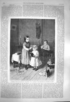 Original Old Antique Print 1869 Children Playing Awarding Prizes Book Victorian
