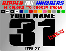 RIPPED NAME MX NUMBER PLATE DECALS SUPERCROSS MOTORCYCLE STICKERS RACING SLED RC