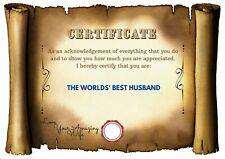 Unique Quirky Personalised Worlds Best Birthday Day Gift Husband Certificate