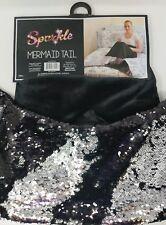 "Sparkle Mermaid Tail Blanket Black Silver 18"" x 52"" New"