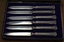 Inusual Vintage 1920s Plata manejado conjunto de seis cuchillos de té/Mantequilla