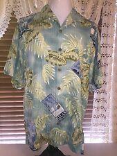 Mens VGUC TOMMY BAHAMA RELAX XL Extra Large Blue & Green Silk Hawaiian Shirt