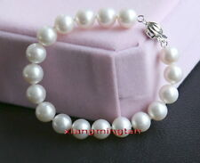 "AAAAA 7.5""11-12mm Natural real round south sea WHITE pearl bracelet 14K GOLD"
