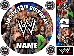 """WWE INSPIRED  6"""" TO A3 SHEET PERSONALISED CAKE EDIBLE ICING TOPPER"""