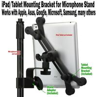 iPad Tablet Mounting Bracket for Microphone Stand Mic Clamp Yoke Holder Clip NEW