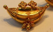 SINGLE 22CT YELLOW GOLD AMULET NECKLACE PENDANT WITH GOLD BELLS VINTAGE INDIA