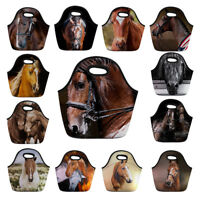 Horse Print Lunch Bags for Women Kids Portable Picnic Tote Handbag School Bags