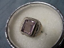 Beautiful Designed Rose de France Amethyst .925 Sterling Silver Ring Size 6.75