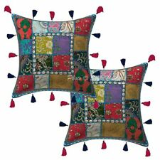 "Cotton Patchwork Kodi Tassels Pillow Cases 16"" Ethnic Handmade Cushion Cover"